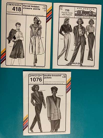 Stretch & Sew Patterns - Group 19:  418, 756, 1076 from 80's & 90's