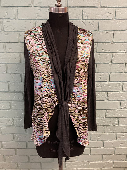 Rayon Jersey Print Cardigan Jacket with Contrast Collar & Sleeves (Large-XL)