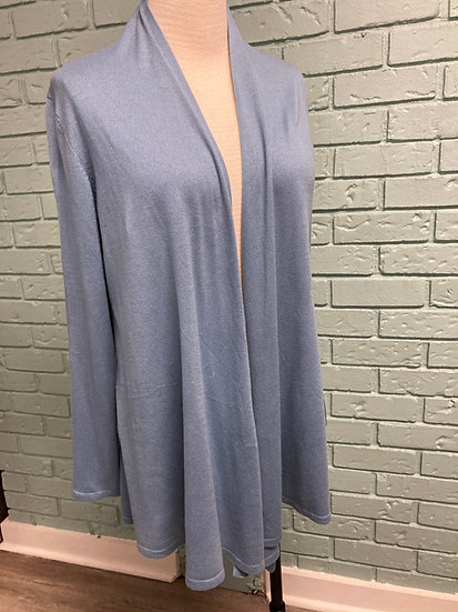 Soft Blue Evelyn Silk/Cotton/Cashmere Sweater Jacket  (XL)
