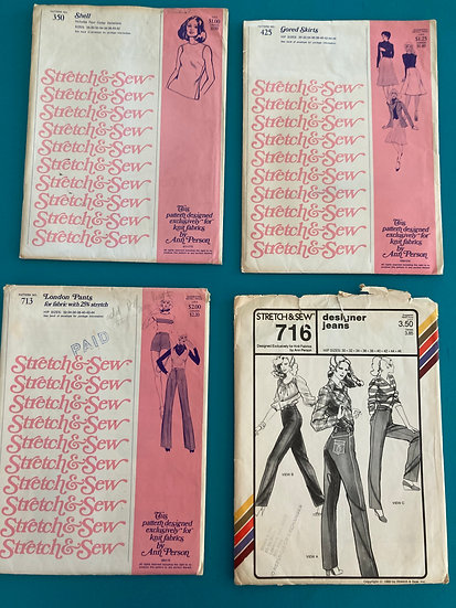 Stretch & Sew Group 63:  350, 425, 713, 716 fro, 60's, 70's, 80's