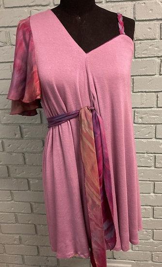 Mauve Knit and Hand-Dyed Silk Evening Dress  (Medium - XLarge)
