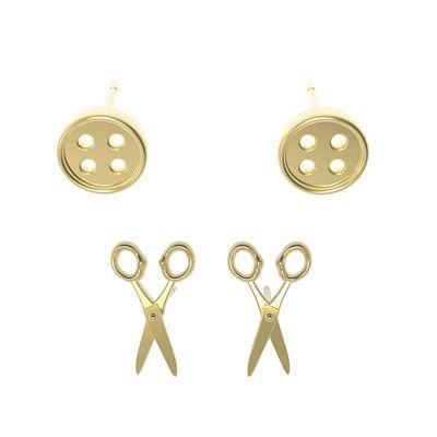 Button & Scissors Post Earrings - Set of 2