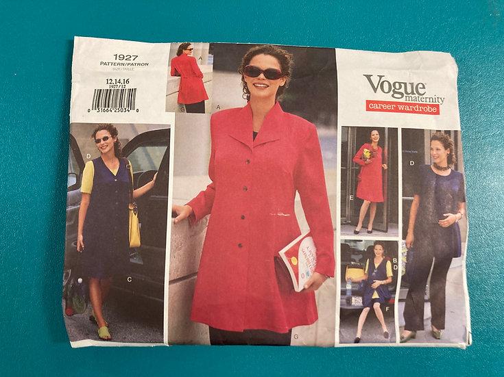 Vogue 1927 Sewing Pattern Maternity Size 12-16  Uncut