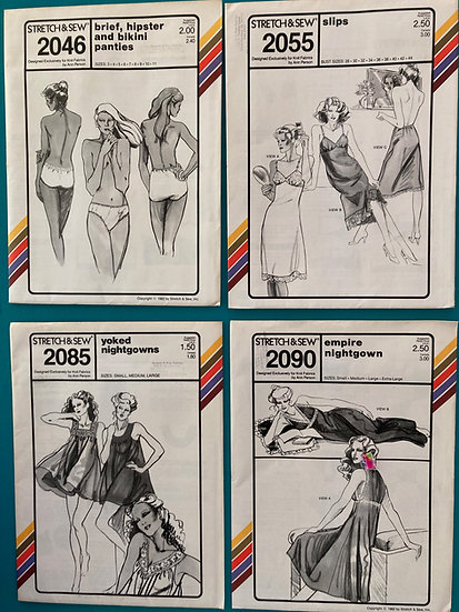 Stretch & Sew Patterns:  2046, 2055, 2085, 2090 from 70's 80's & 90's