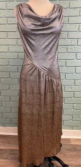 Glitzy Silver-Gold-Copper Cowl Neck Evening Gown (Large)