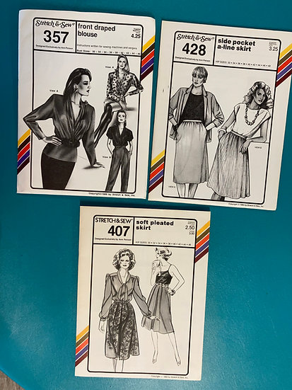 Stretch & Sew Patterns - Group 23:  357, 428, 407, 738 from 1980's