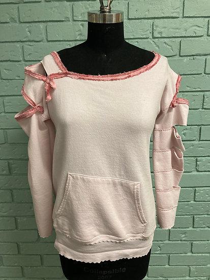 Blush Pink Slashed Arm Sweatshirt Makeover (Medium)