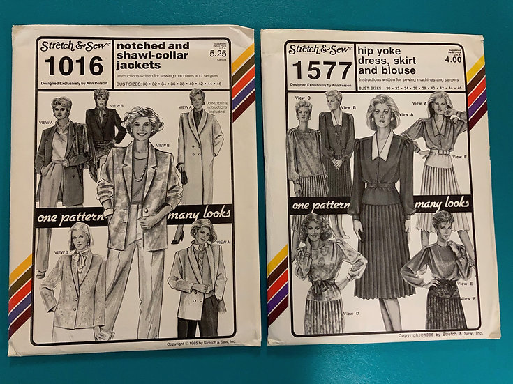 Stretch & Sew Patterns - group 18:  1016, 1577 from 1980's