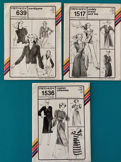 Stretch & Sew Patterns - Group 37:  639, 1517, 1536  from 1980's