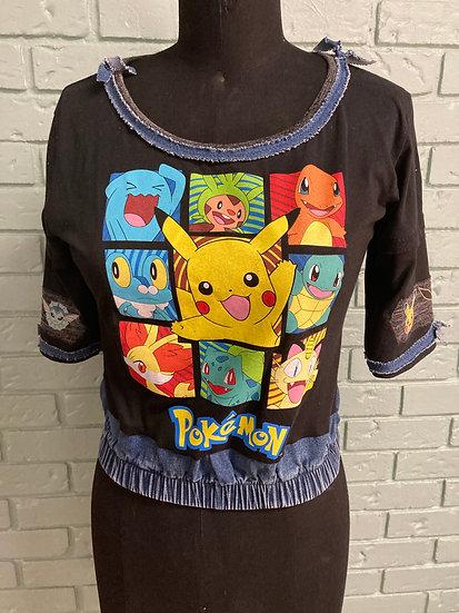 Pokemon Black T-Shirt/Jean Top (Large)