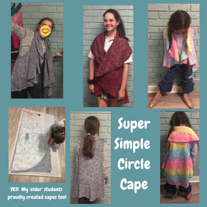 picture of kids making and wearing the Circle Cape