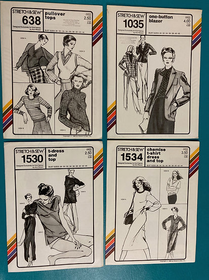 Stretch & Sew Patterns - Group 14:  638, 1035, 1530, 1534 from 70's and 80's