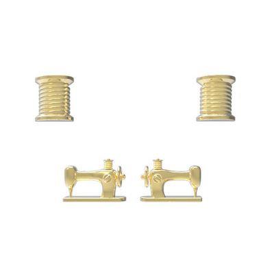 Thread Spool & Sewing Machine Post Earrings
