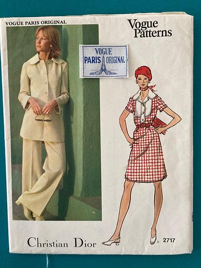 Vogue Paris Original Pattern 2717 Christian Dior  Size 16 with Label Uncut