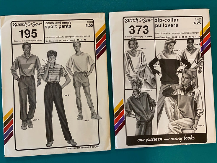 Stretch & Sew Patterns - Group 53:  195, 373  from 80's & 90's