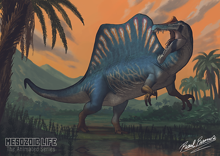 Mesozoic Life Spinosaurus Print (A5).tif