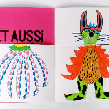 """""""Une fusée dans les étoiles"""". Pages Méli-mélo. Les drôles d'animaux que croise Johnny sur la planète inconnue."""