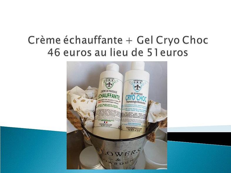 Crème Echauffante + Gel de massage Cryo Choc
