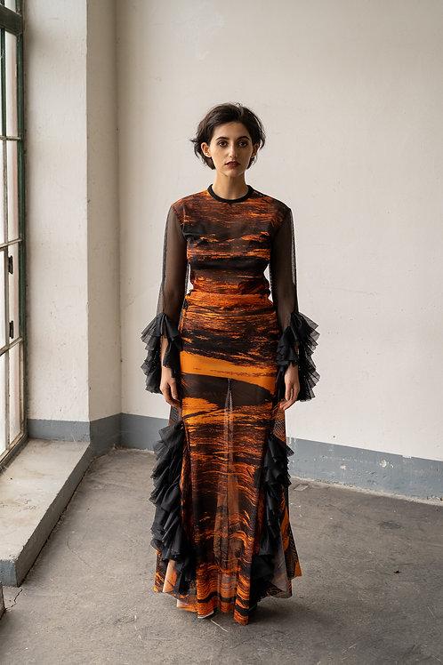 Kleid bedruckt mit Malerei