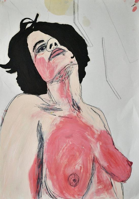 Geh bitte!, 2020, Öl und Bleistift auf Papier, 100 x 70 cm