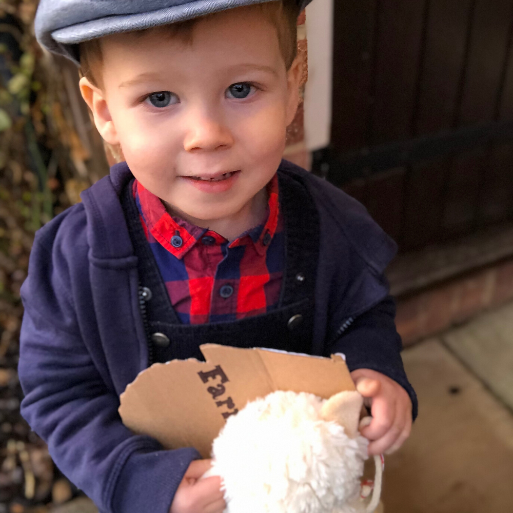 Toddler smiles while dressed as a farmer. He is wearing a red checked shirt, dungarees and flat cap while holding a toy sheep.