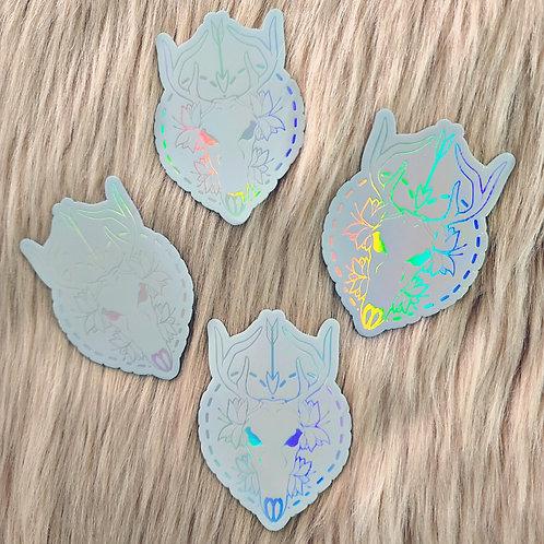Deer Skull Holo Sticker