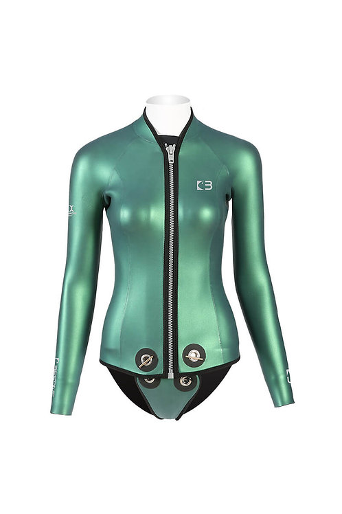 BESTDIVE 3mm女士炫彩拉鍊夾克(帶兜檔) 摩洛哥綠