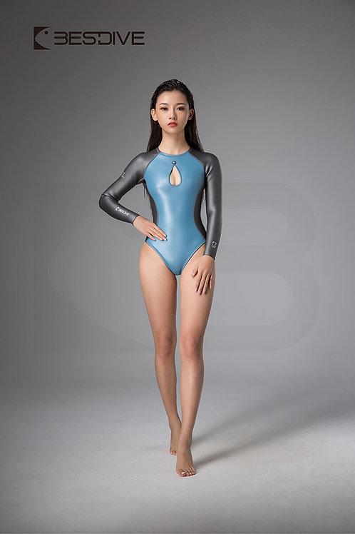 BESTDIVE 2mm女士美杜莎系列比基尼防寒衣 拉鍊拼色款 晨暮藍/深邃灰