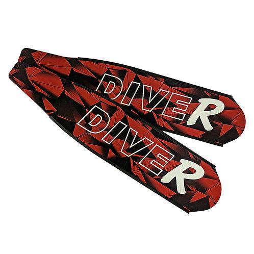 DIVER 紅色三角 碳纖維長蛙鞋板 ( 不含腳套 )