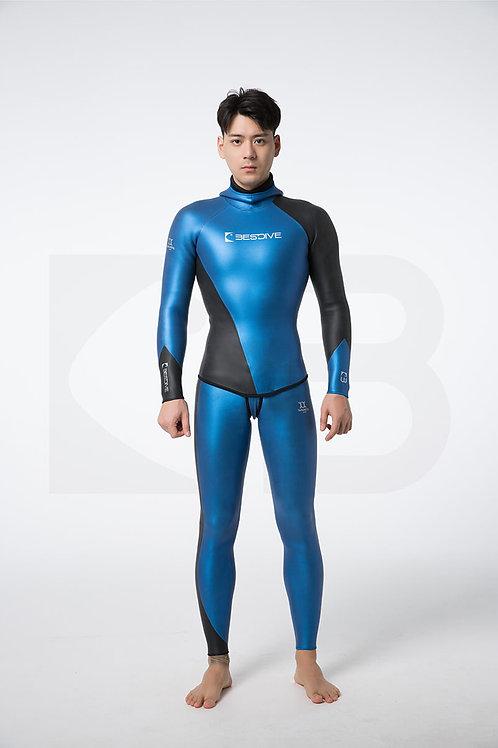 BESTDIVE 3mm男士炫彩流線系列防寒衣 加勒比藍/石墨黑