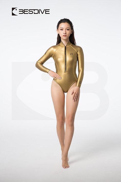 BESTDIVE 2mm女士金典系列比基尼防寒衣 高叉純色款 炫彩金