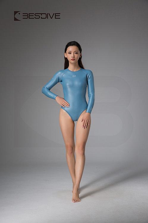 BESTDIVE 2mm女士靈秀系列比基尼防寒衣 拉鍊純色款 晨暮藍