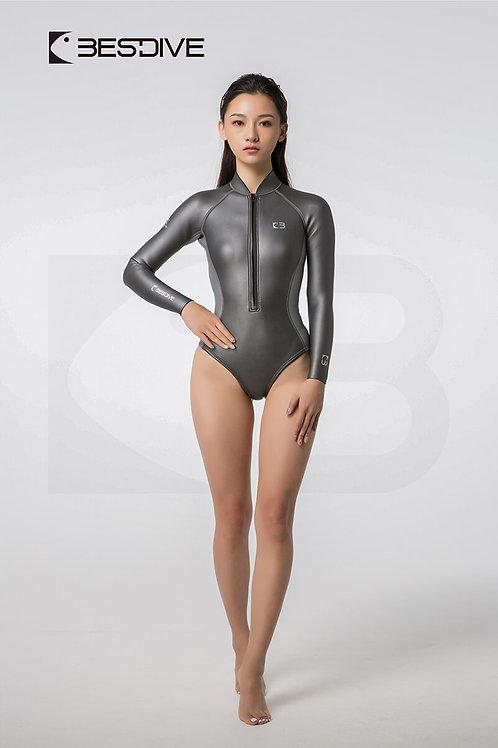 BESTDIVE 2mm女士金典系列比基尼防寒衣 高叉拼色款 深邃灰/太空銀