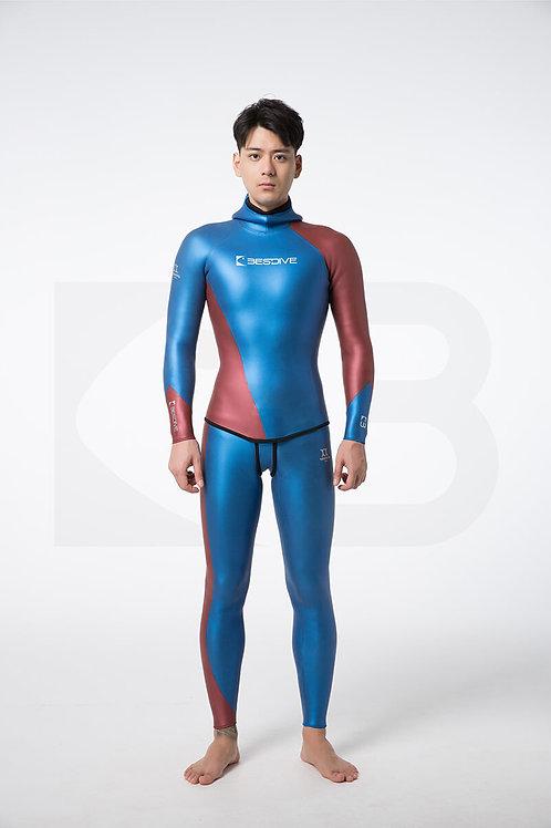 BESTDIVE 3mm男士炫彩流線系列防寒衣 加勒比藍/波爾多酒紅