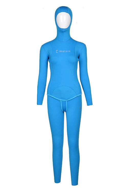 BESTDIVE 3mm女士兩用雙面穿防寒衣 湖藍色/淺灰色