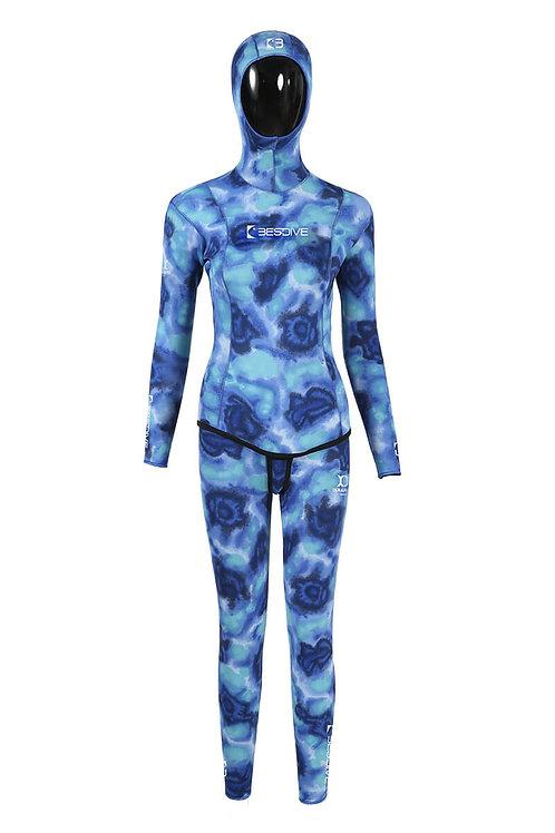 BESTDIVE 3mm女士藍洞系列防寒衣 藍色海洋迷彩