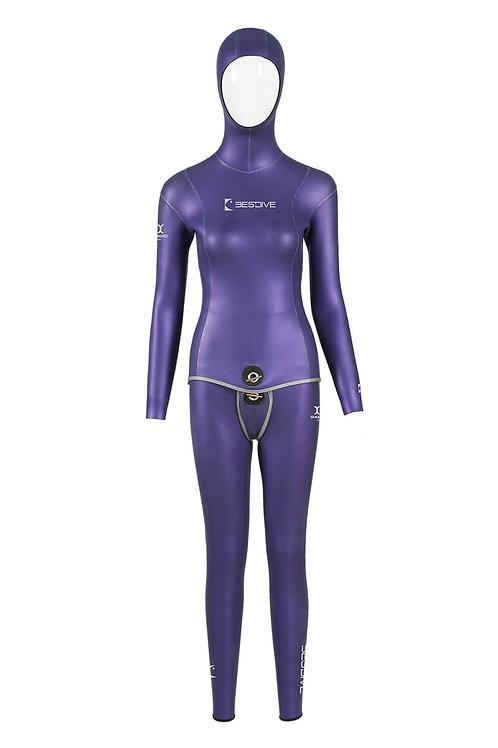 BESTDIVE 3mm女士炫彩雙面穿防寒衣 普羅旺斯紫/經典黑