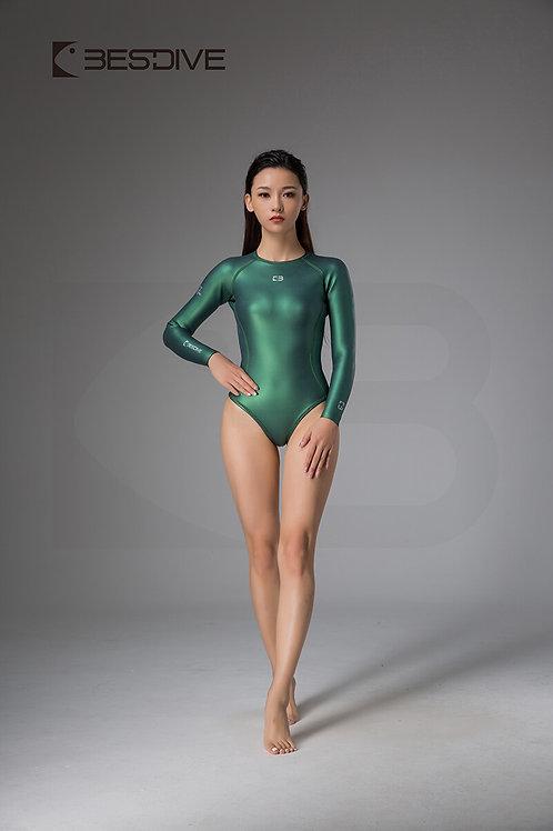 BESTDIVE 2mm女士靈秀系列比基尼防寒衣 拉鍊純色款 摩洛哥綠