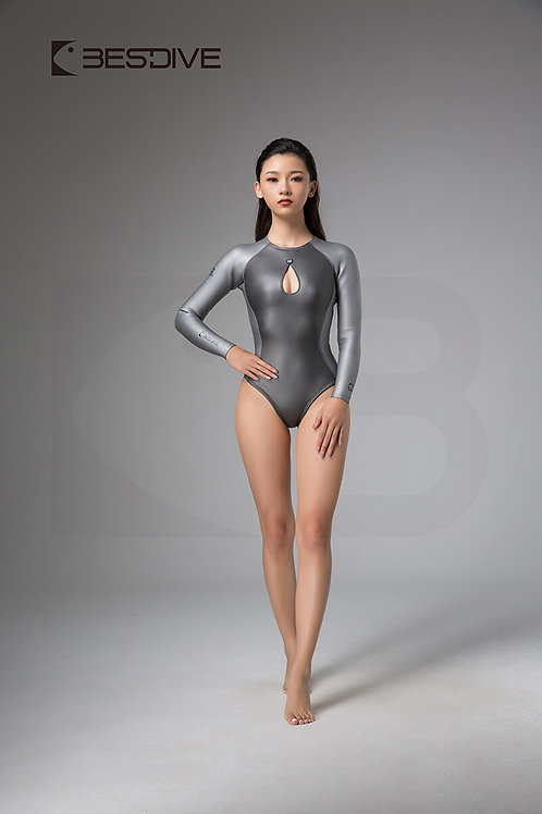 BESTDIVE 2mm女士美杜莎系列比基尼防寒衣 拉链拼色款 深邃灰/太空銀