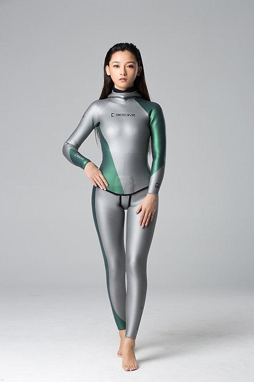BESTDIVE 3mm女士炫彩流線系列防寒衣 太空銀/摩洛哥綠