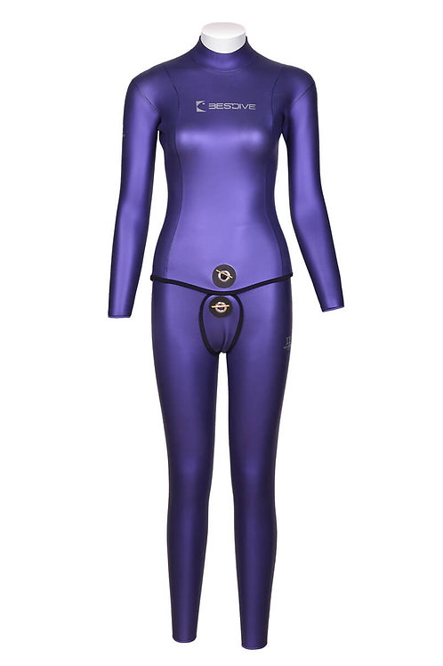 BESTDIVE 3mm女士炫彩雙面穿防寒衣(無帽) 普羅旺斯紫/深灰色