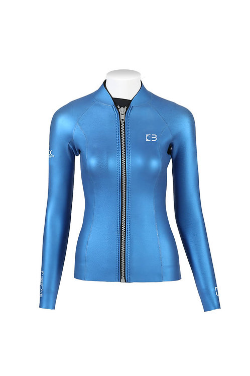 BESTDIVE 3mm女士炫彩拉鍊夾克 加勒比藍