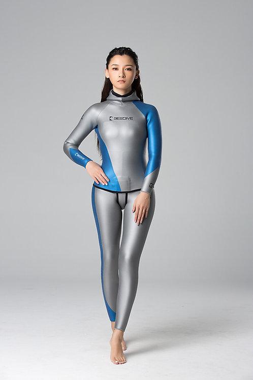 BESTDIVE 3mm女士炫彩流線系列防寒衣 太空銀/加勒比藍