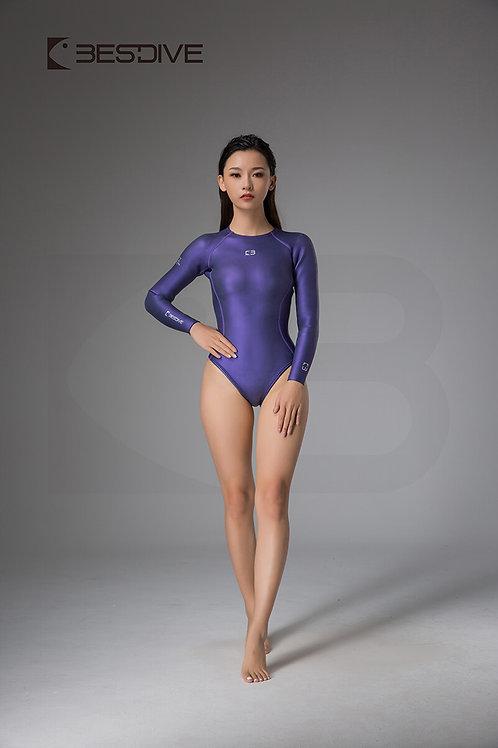 BESTDIVE 2mm女士靈秀系列比基尼防寒衣 拉鍊純色款 普羅旺斯紫