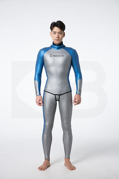 BESTDIVE 3mm男士炫彩秀頎系列防寒衣 太空銀/加勒比藍