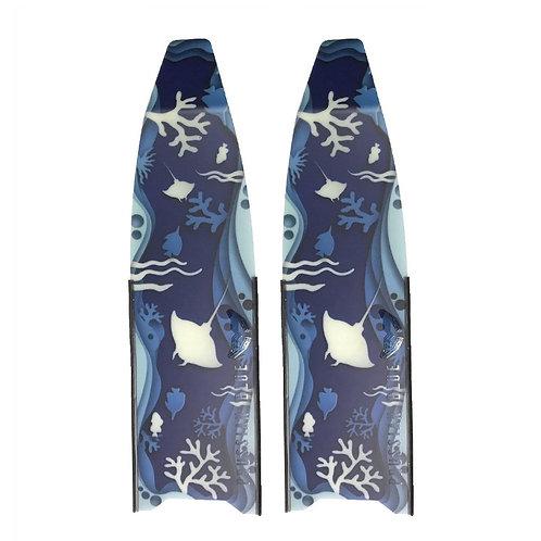 普魯士藍 海底世界玻璃纖維長蛙鞋板 ( 不含腳套 )