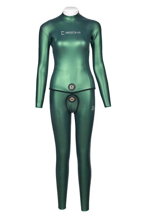 BESTDIVE 3mm女士炫彩雙面穿防寒衣(無帽) 摩洛哥綠/經典黑