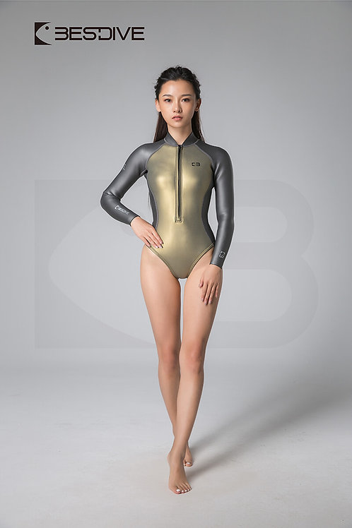BESTDIVE 2mm女士金典系列比基尼防寒衣 高叉拼色款 琥珀金/深邃灰