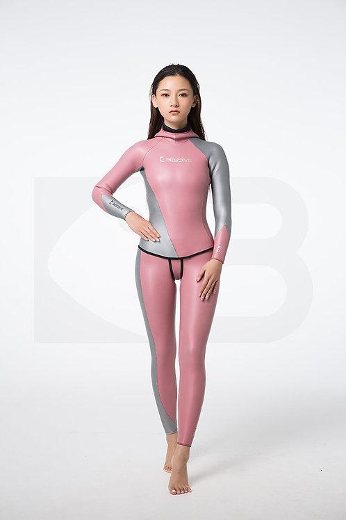 BESTDIVE 3mm女士炫彩流線系列防寒衣 浪漫粉/太空銀