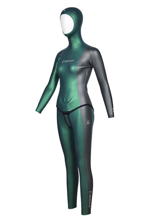 BESTDIVE 3mm女士太極系列防寒衣 摩洛哥綠/深邃灰